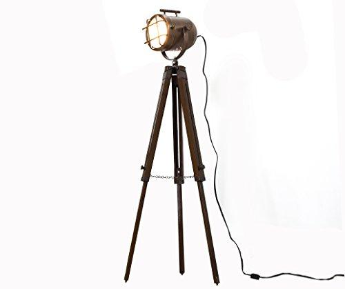 Copper finish antique tripod lamp portable office ligting décor low floor lamps