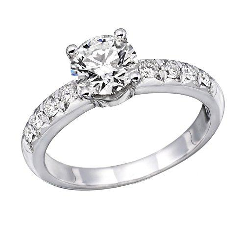 1 ctw. Round Diamond Solitaire Engagement Ring in 18k White Gold