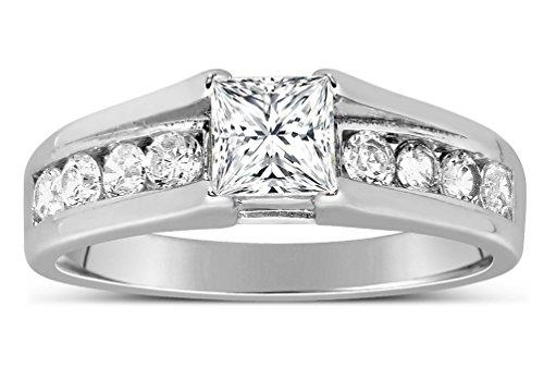 Perfect Half Carat Princess diamond Engagement Ring in White Gold