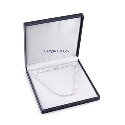 14K Gold 6.5-7.0mm Round White Freshwater Cultured Pearl Necklace - AAAA Quality, 17