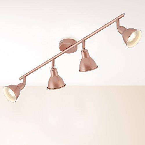 Briloner Leuchten/4 Pan and Tilt Bar Spotlight Ceiling Light GU10 3 Watt Copper/Retro/Vintage Metal 67.4 x 8.5 x 11 cm