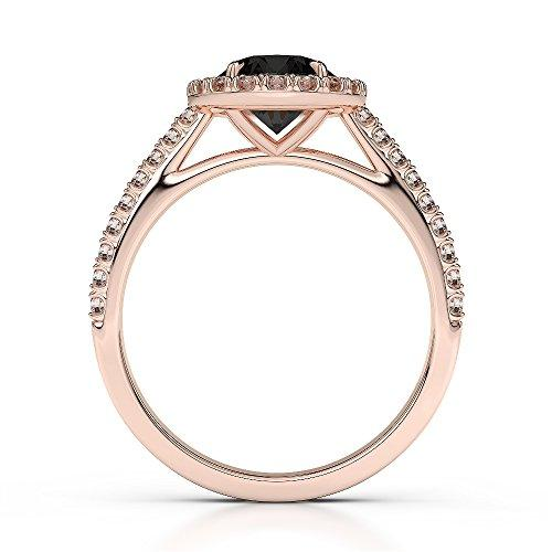 18Kt Rose Gold 1.62 Ct H-I Certified Round Cut Black Diamond Engagement Ring AGDR-1215