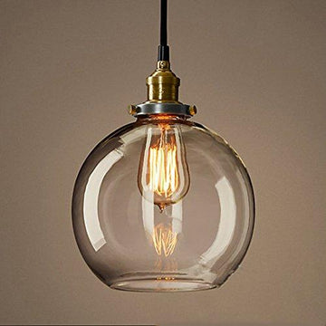 LEDIARY Creative Glass Ball Round Shade Loft Pendant Lamp Retro Ceiling Light Vintage Industrial Style, Ball Shape, Amber Glass