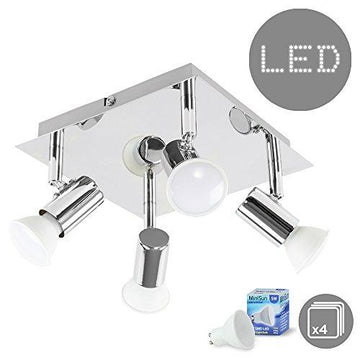Modern Polished Chrome Square Plate 4 Way Ceiling Spotlight - With 4 x 5W Warm White GU10 LED Bulbs