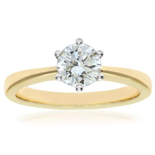 Naava GIA Certified Diamond 18ct Yellow Gold Solitaire Engagement Ring - Size O PR07910Y-G070HVS2-O