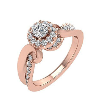 IGI Certified 14K Rose Gold Diamond Engagement Ring Band (0.45 Carat)