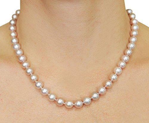 6.5-7mm Pink Freshwater Cultured Pearl Necklace, 18 Inch Princess Length