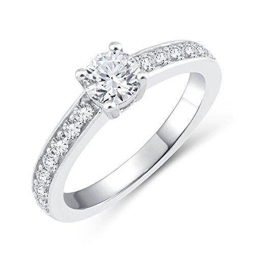 Perfect Love Diamond Collection Women's 18 ct White Gold Round Diamond Solitaire Ring with Diamond Shoulders, Certified Ideal Cut 1 ct