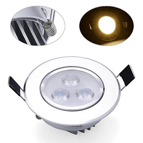 DM 4 Pack Ceiling Light Recessed 3W Warm White 250LM Spots Downlight Fixture LED with LED Driver Mounting Hole 75MM Lamp Lighting Recessed Beam Angle 60 ° Adjustable AC100-240V for Bedroom Living Room