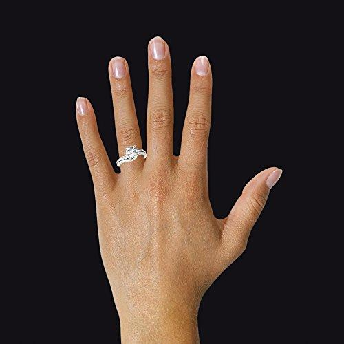 BIS Solid Gold Proposal Band Hallmarked 14K White Gold Color H-I Clarity VVS1 Round Cut 0.75Ct Moissanite Womens Wedding Band Diamond Engagement Rings Solitaire Diamond Size L M N I O P (L)
