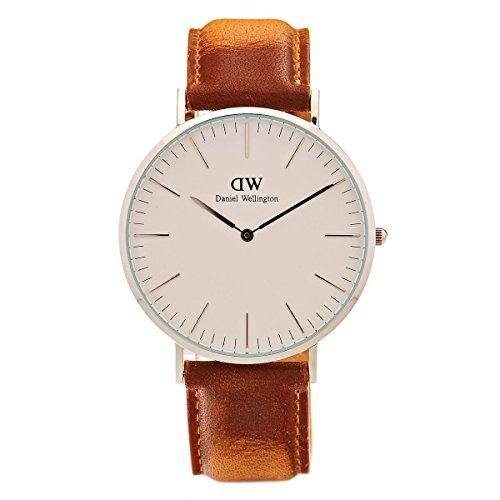 Daniel Wellington Classic Men Quartz Watch with Analog Display and Brown Leather Strap - DW00100110