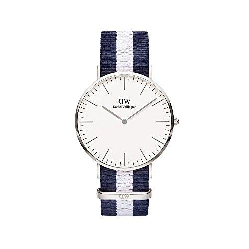 Daniel Wellington Glasgow Silver Men's Quartz Watch with White Dial Analogue Display and Multicolour Nylon Strap 0204DW