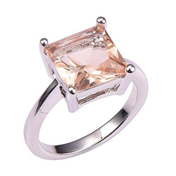 Morganite 925 Sterling Silver Filled Filled Fashion Ring Size J 1/2