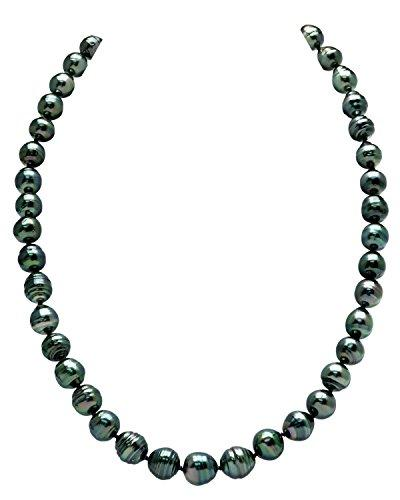 "14K Gold 8-10mm Dark Tahitian South Sea Baroque Cultured Pearl Necklace - AAA Quality, 18"" Length"