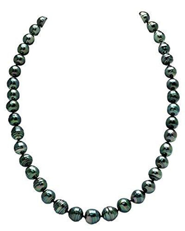 14K Gold 8-10mm Dark Tahitian South Sea Baroque Cultured Pearl Necklace - AAA Quality, 16
