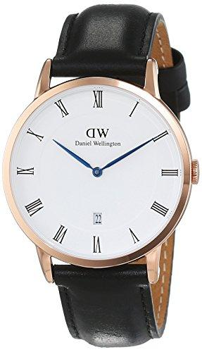 Daniel Wellington Dapper Men Quartz Watch with Analog Display and Black Leather Strap - DW00100084
