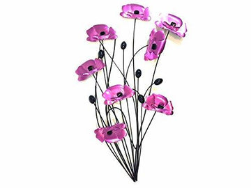 SK Style New - Contemporary Metal Wall Art Decor Sculpture - Purple Pink Poppy Bunch
