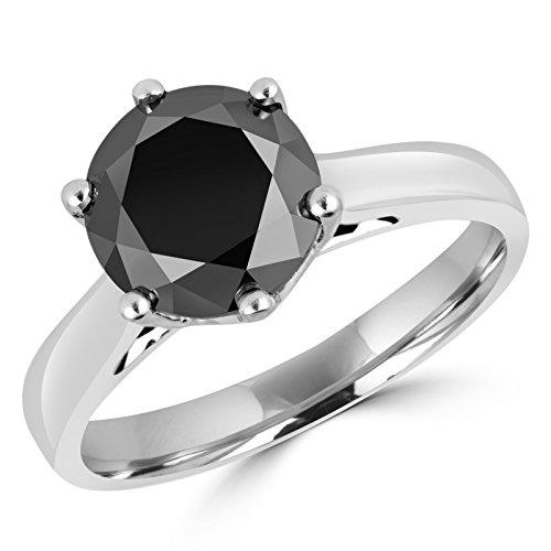 7/8 CT Round Black Diamond 6 Prong Solitaire Engagement Ring in 14K White Gold (MD170223)