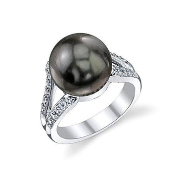 11mm Tahitian South Sea Cultured Pearl & Crystal Khloe Ring