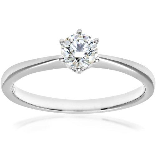 Naava Women's 18 ct White Gold 6 Claw Solitaire Engagement Ring, G/VS2 EGL Certified Diamond, Round Brilliant, 0.39 ct, White Gold, O