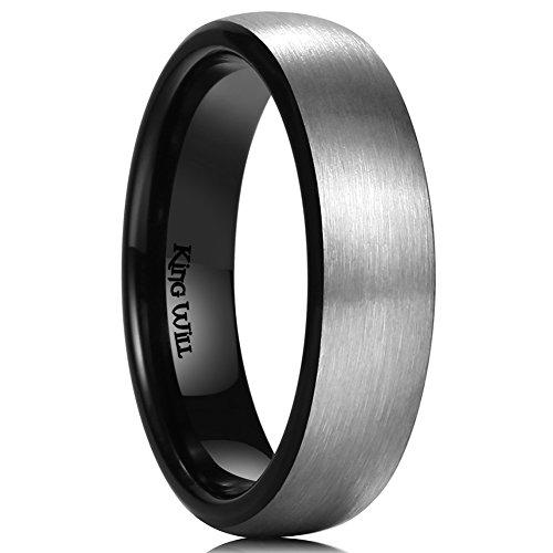 King Will 6mm Titanium Ring Brushed Black Plated Comfort Fit Wedding Band For Men Women R1/2
