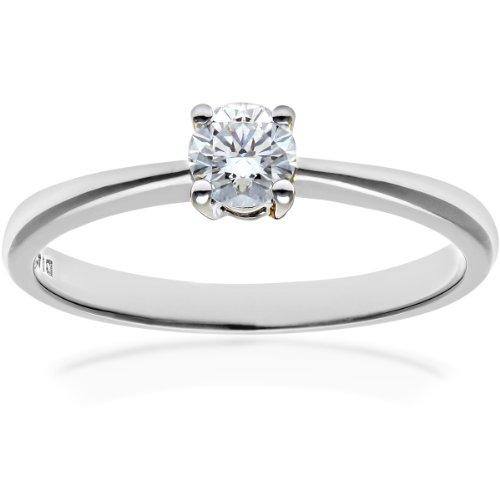 Naava Women's 9 ct White Gold Round Brilliant IJ/I Certified 0.25 ct Diamond Solitaire Engagement Ring, Size - N