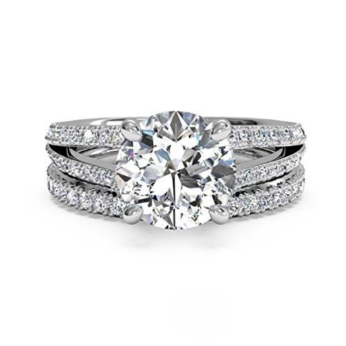 1.20 Ct Round Cut Band Set Moissanite Diamond Engagement Ring 14K White Gold Size J K L M N O P Q R S T