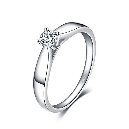 JewelryPalace 0.2ct Cubic Zirconia Anniversary Solitaire Engagement Ring 925 Sterling Silver Size L