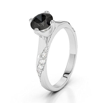 18Kt White Gold 1.20 Ct H-I Certified Round Cut Black Diamond Engagement Ring AGDR-2060
