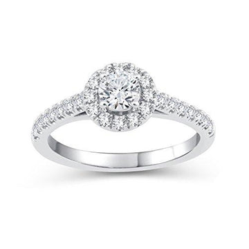 Perfect Love Diamond Collection Women's 18 ct White Gold Round Diamond Halo Ring with Diamond Shoulders, Certified Ideal Cut 0.75 ct