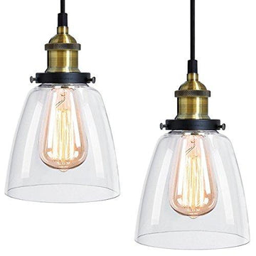2 x Modern Vintage Victorian Bronze Metal Ceiling Pendant Glass Lamp Shade Chandelier BF-4