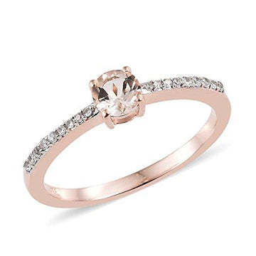 Moroppino Morganite, Zircon Ring in Rose Gold Overlay Sterling Silver 0.75 Ct