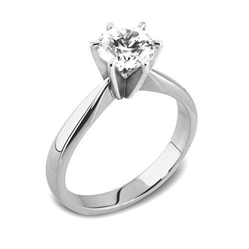 Abelini 0.40 Carat Certified I1/HI 100% Natural Round Diamond Solitaire Engagement Rings for Women In Platinum