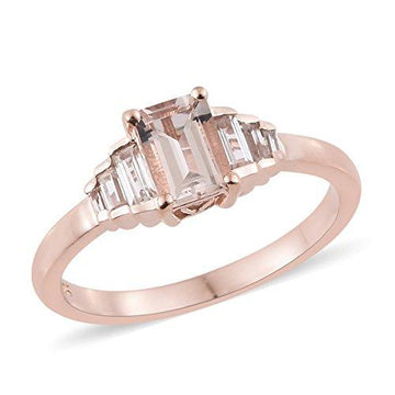 Moroppino Morganite, Zircon Ring in Rose Gold Overlay Sterling Silver 1.5 Ct