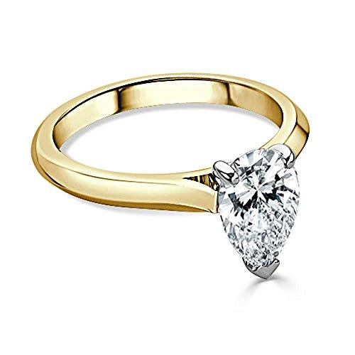 2.50 Ct Pear Cut Moissanite Diamond Engagement Ring 14K Yellow Gold Size J K L M N O P Q R S