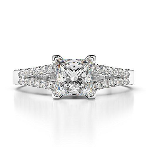 G-H/VS 0.43 Ct Princess Cut Certified Diamond Engagement Ring in Platinum 950 AGDR-1211