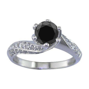 14K White Gold Black Diamond Engagement Ring (1.50 CT) In Size O