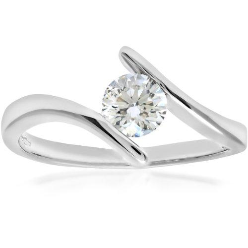 Naava Women's 18 ct White Gold Crossover Solitaire Engagement Ring, G/SI3 EGL Certified Diamond, Round Brilliant, 0.47ct