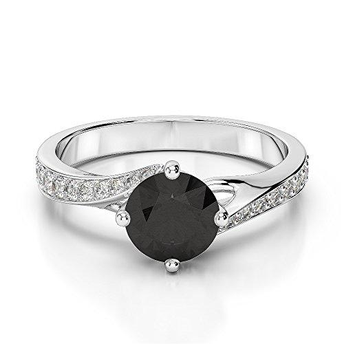18Kt White Gold 1.76 Ct H-I Certified Round Cut Black Diamond Engagement Ring AGDR-1207