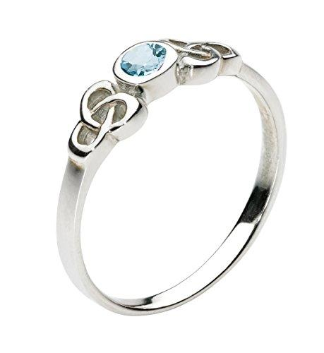 Heritage Sterling Silver Celtic Blue Topaz Round Stone Ring - Size - M