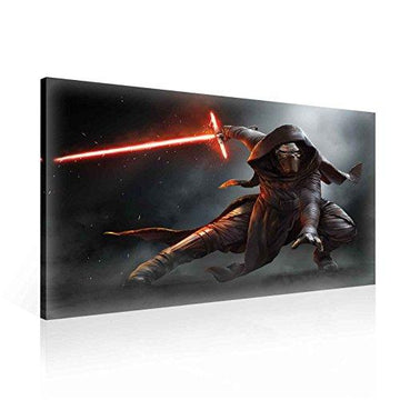 Star Wars Force Awakens Kylo Ren Canvas Print - Photo Print - O1 - 100cm x 75cm - Premium 260gsm Canvas, Hand-Finished, Solid MDF Frame - 2.6cm Thick - Integrated Hanging Hook - Star Wars Collection - (PPD1911O1)