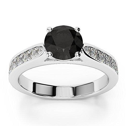 0.50 Carat AAA Black and White Diamond Engagement Ring Crafted in 9k White Gold Size M