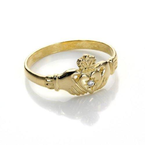 9ct Yellow Gold Claddagh Ring with Crystal / CZ - Size R (L - S Available)