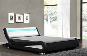 LED Headboard Bed Frame - Double or King Size, in Black,White,Brown or Multicolour Faux Leather
