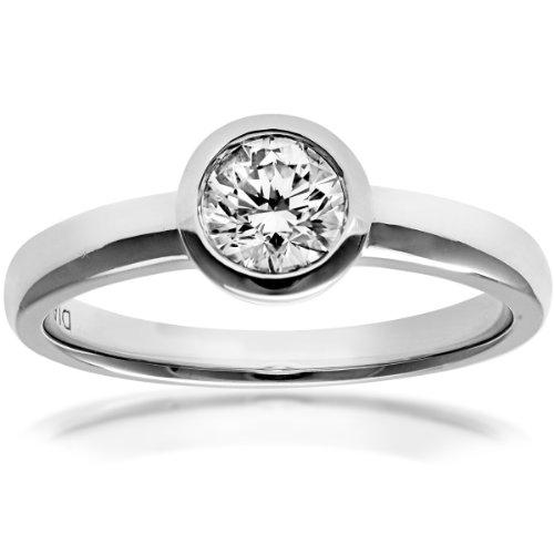 Naava Women's 18 ct White Gold J/I1 Certified Round Brilliant Cut 0.50 ct Diamond Solitaire Engagement Ring, Size P