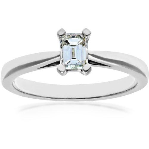 Naava Women's Platinum 4 Claw Tapered Solitaire Engagement Ring, G/VS1 EGL Certified Diamond, Emerald Cut, 0.52ct