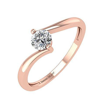 IGI Certified Round Cut Diamond Wedding Engagement Ring in 14K Rose Gold (G-H, I3, 1/5 carat)