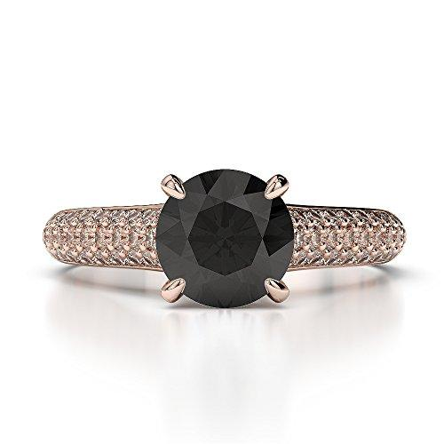 18Kt Rose Gold 1.42 Ct H-I Certified Round Cut Black Diamond Engagement Ring AGDR-1203