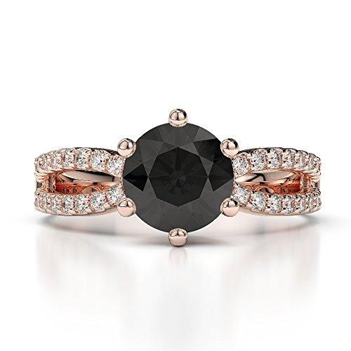 18Kt Rose Gold 1.25 Ct H-I Certified Round Cut Black Diamond Engagement Ring AGDR-1223