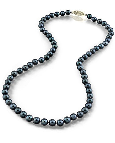 "14K Gold 5.0-5.5mm Japanese Akoya Black Cultured Pearl Necklace - AA+ Quality, 16"" Choker Length"